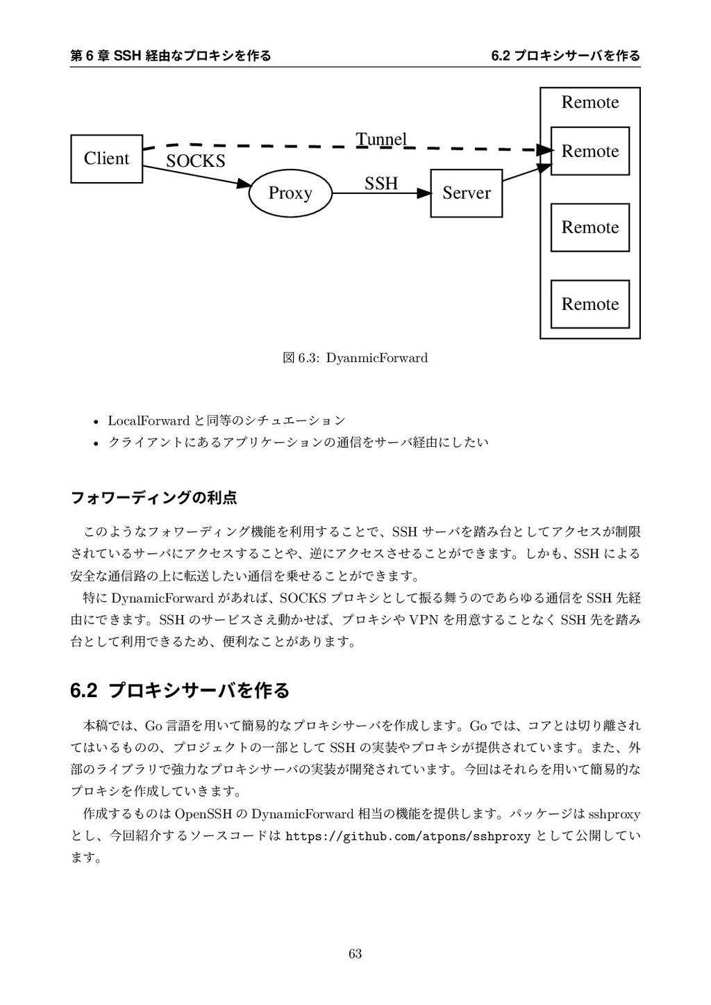第 6 章 SSH 経由なプロキシを作る 6.2 プロキシサーバを作る Remote Remo...