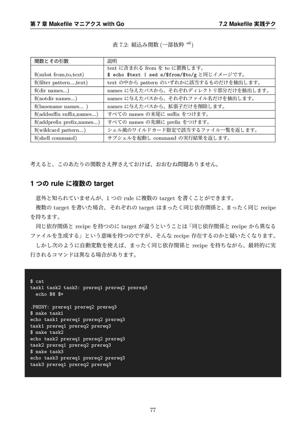 第 7 章 Makefile マニアクス with Go 7.2 Makefile 実践テク 表 ...