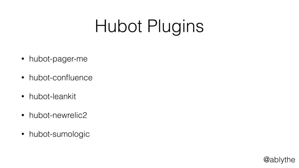 @ablythe Hubot Plugins • hubot-pager-me • hubot...