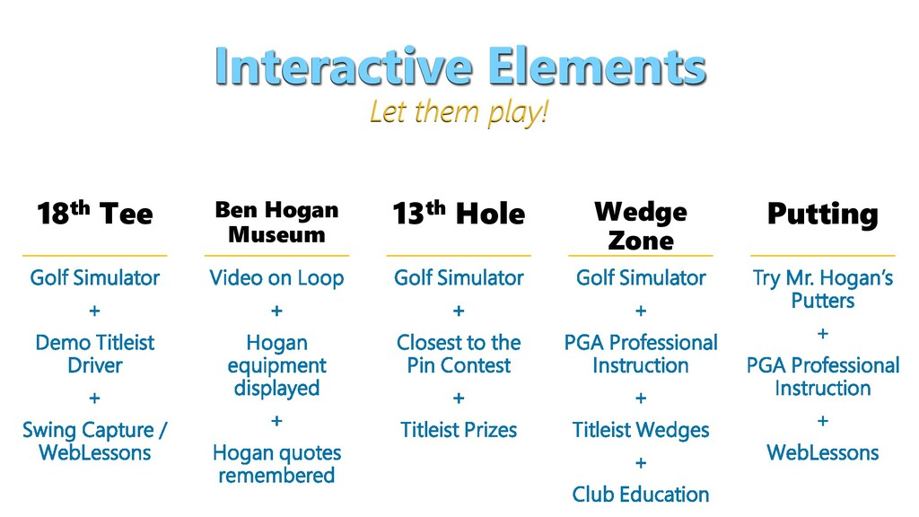 Interactive Elements Let them play! 18th Tee Be...