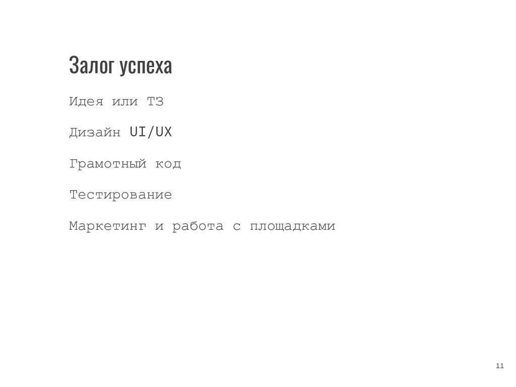 Залог успеха Идея или ТЗ Дизайн UI/UX Грамотный...