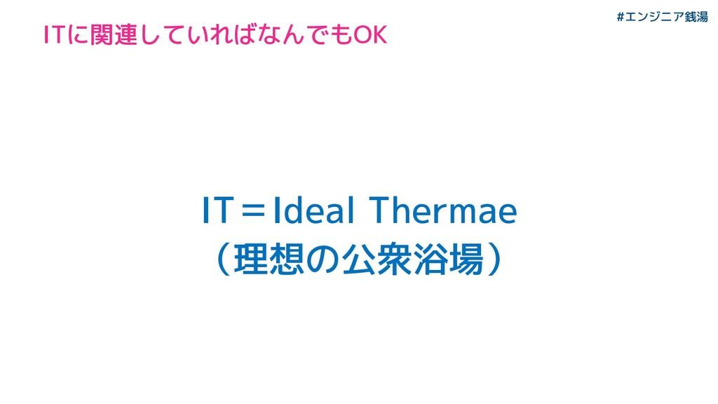 #エンジニア銭湯 IT=Ideal Thermae (理想の公衆浴場) ITに関連していればな...