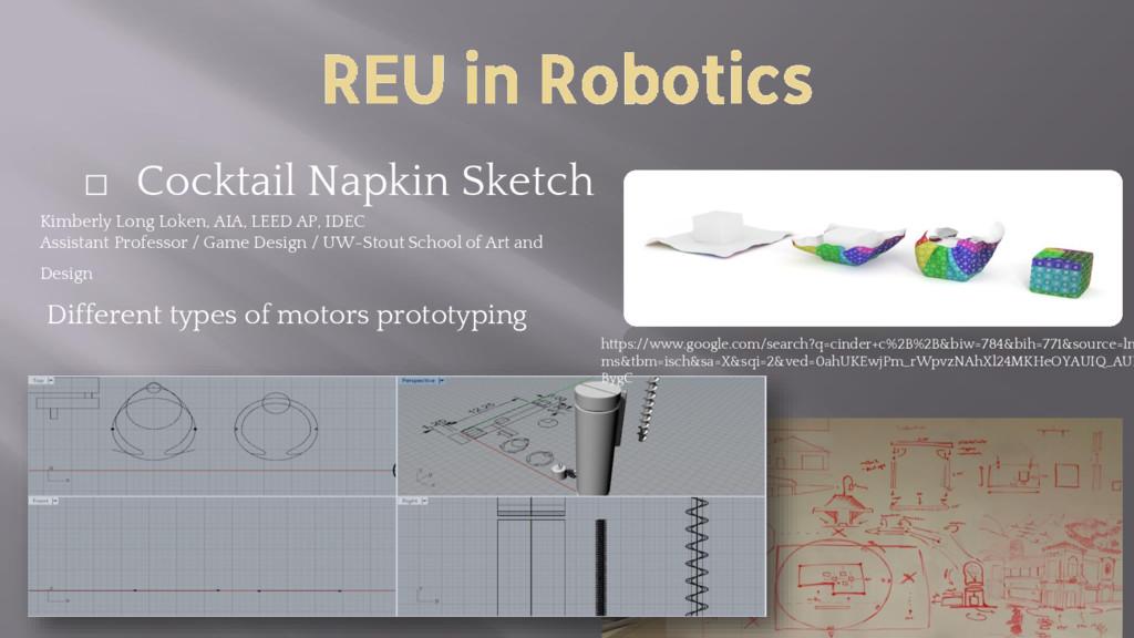 REU in Robotics ⬜ Cocktail Napkin Sketch Kimber...