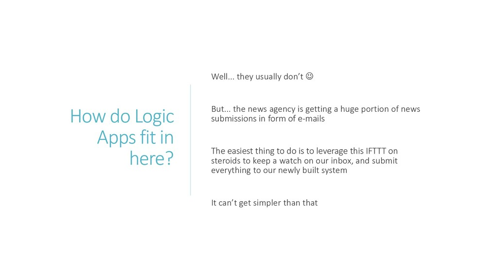 How do Logic Apps fit in here? Well... they usu...
