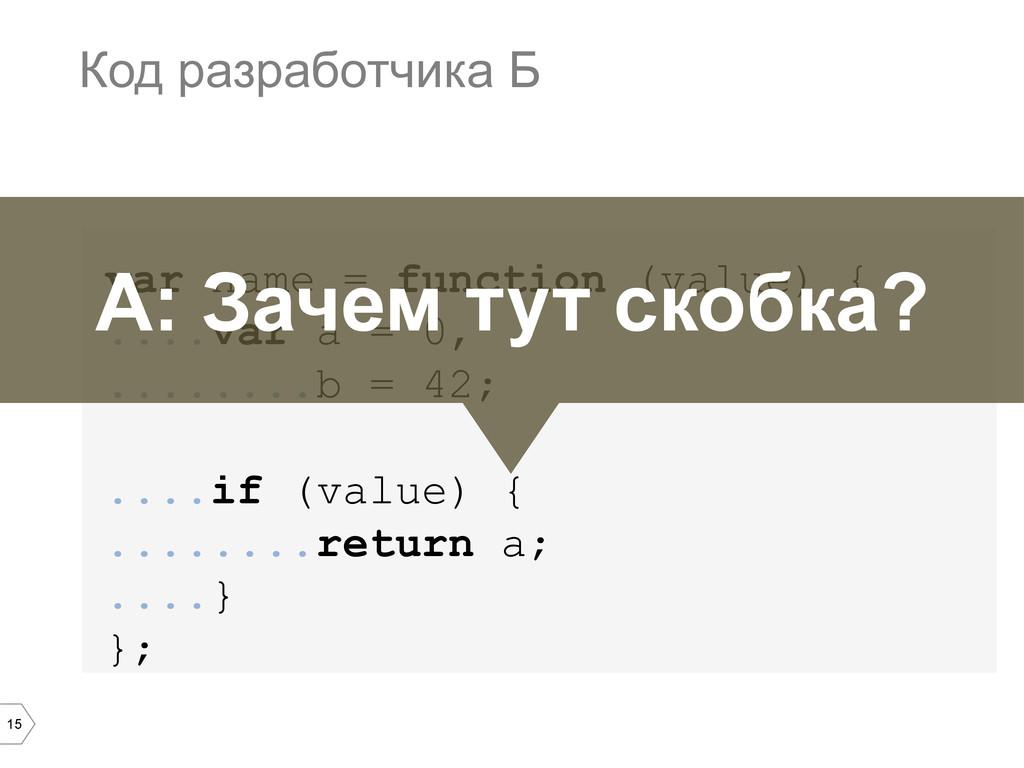15 var name = function (value) { ....var a = 0,...