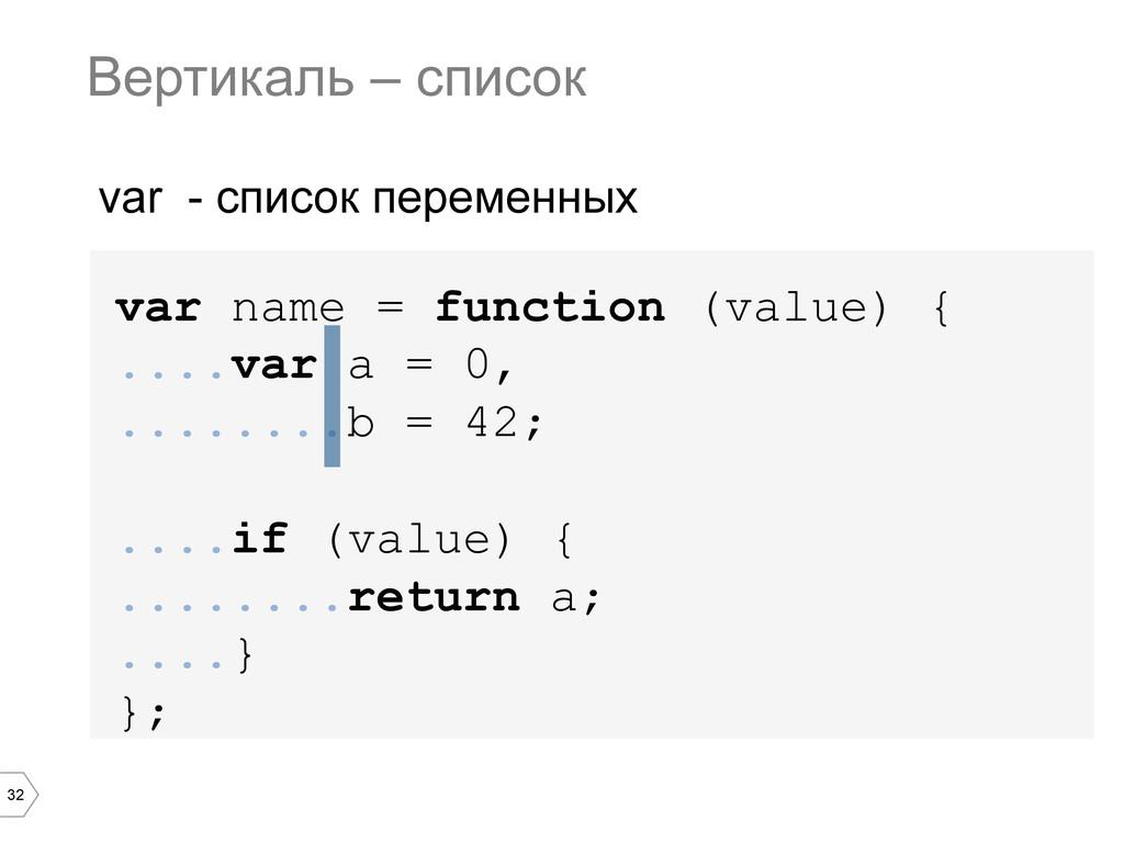 32 var name = function (value) { ....var a = 0,...