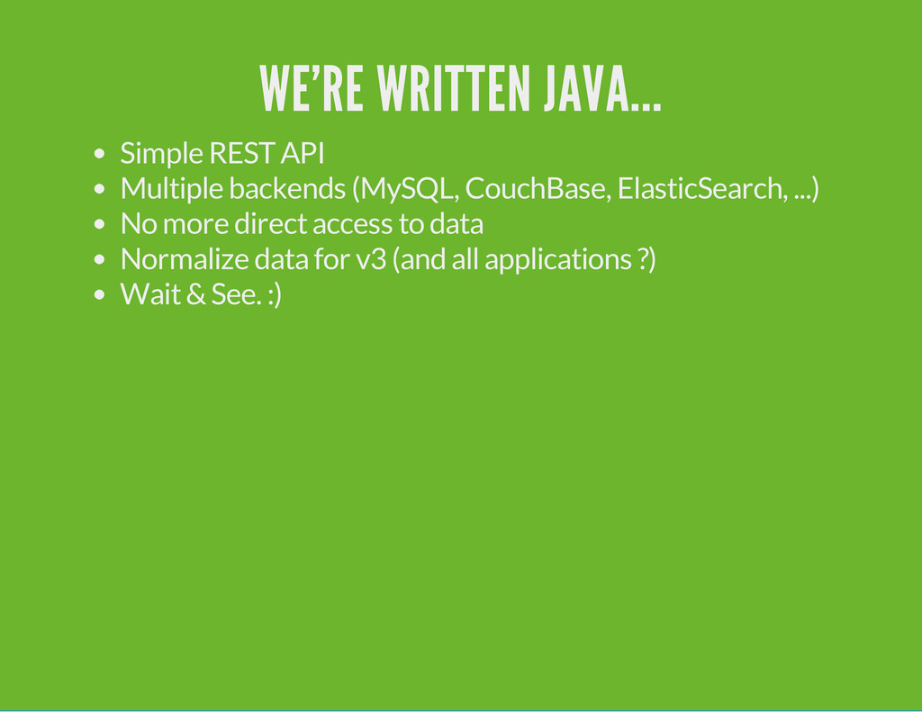 WE'RE WRITTEN JAVA... Simple REST API Multiple ...