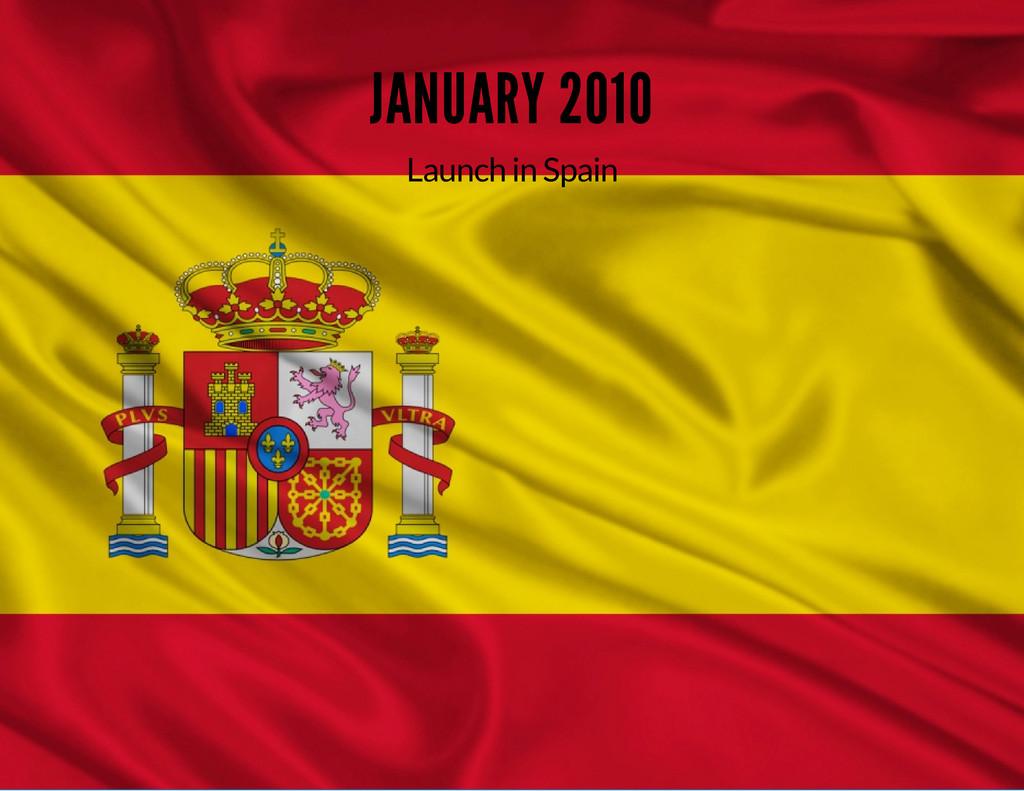 JANUARY 2010 Launch in Spain