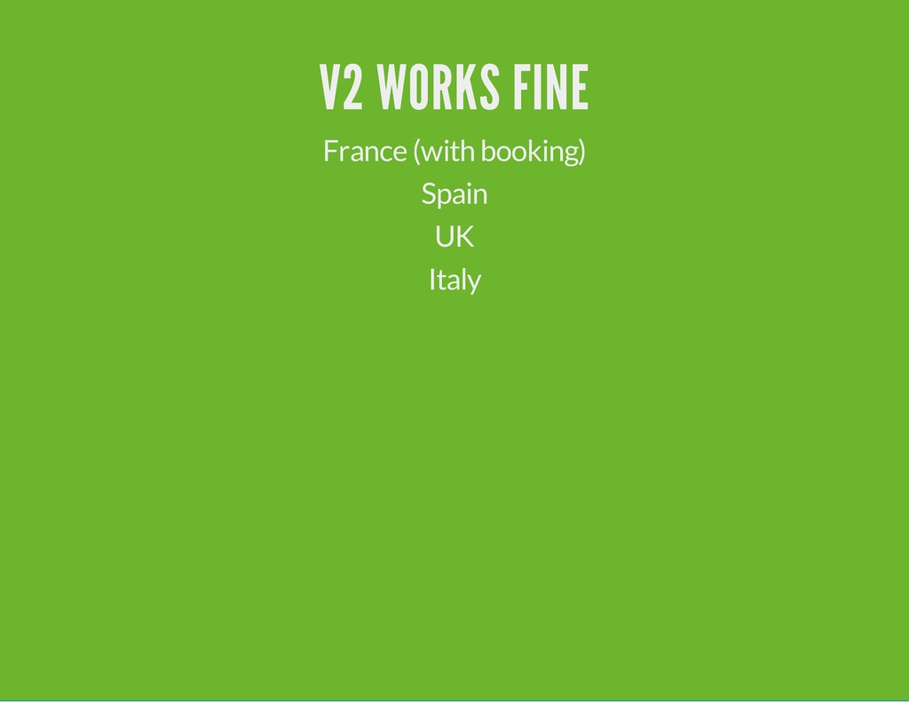 V2 WORKS FINE France (with booking) Spain UK It...