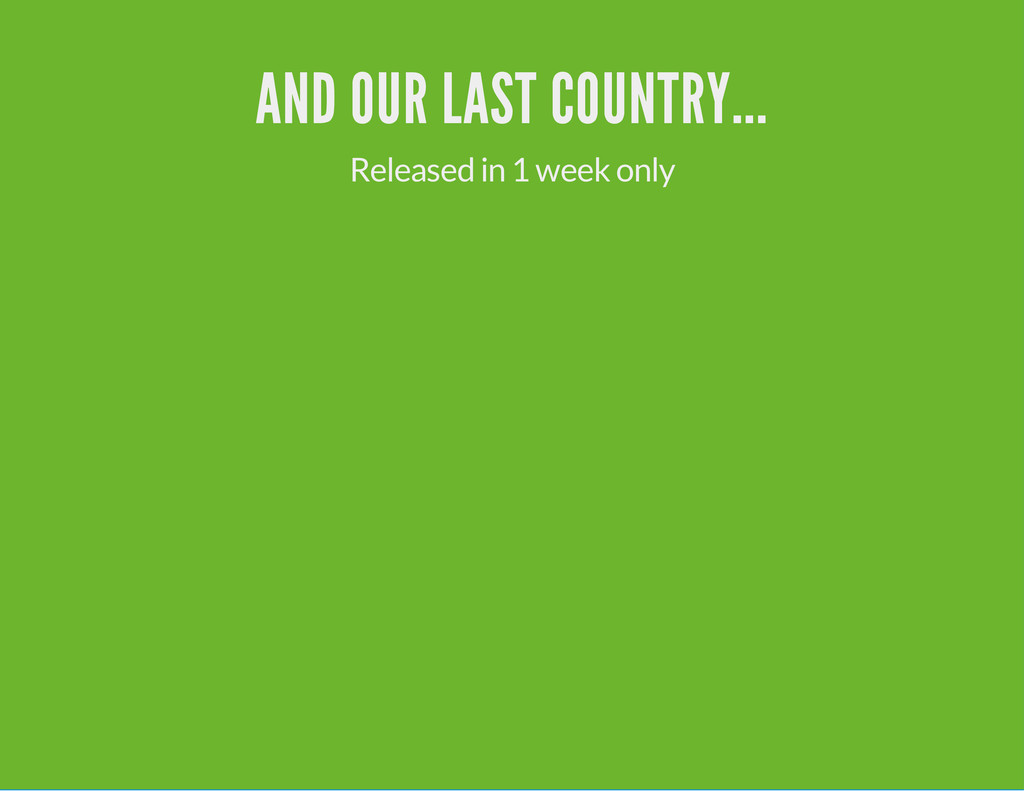 AND OUR LAST COUNTRY... Released in 1 week only