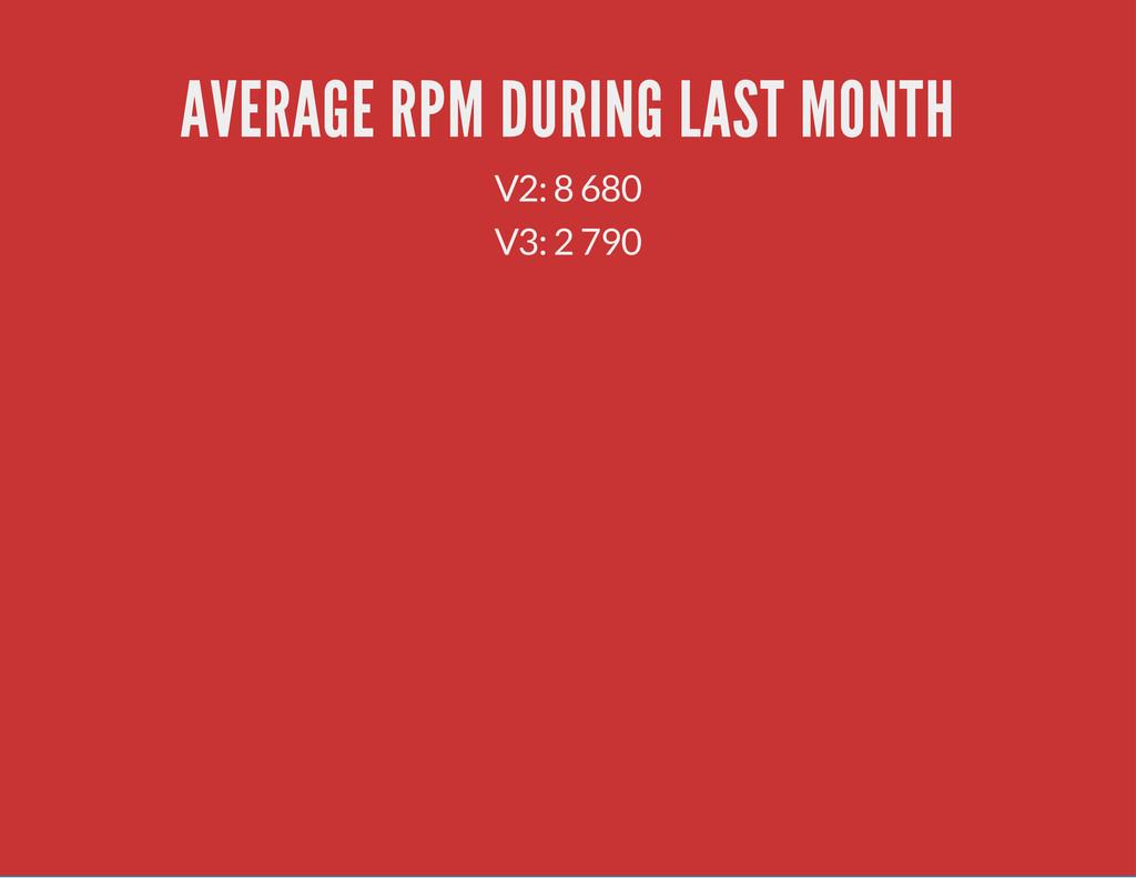 AVERAGE RPM DURING LAST MONTH V2: 8 680 V3: 2 7...