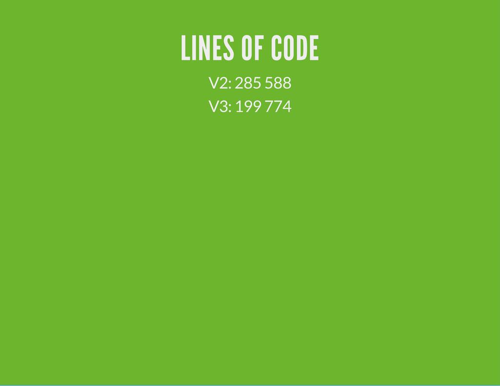 LINES OF CODE V2: 285 588 V3: 199 774