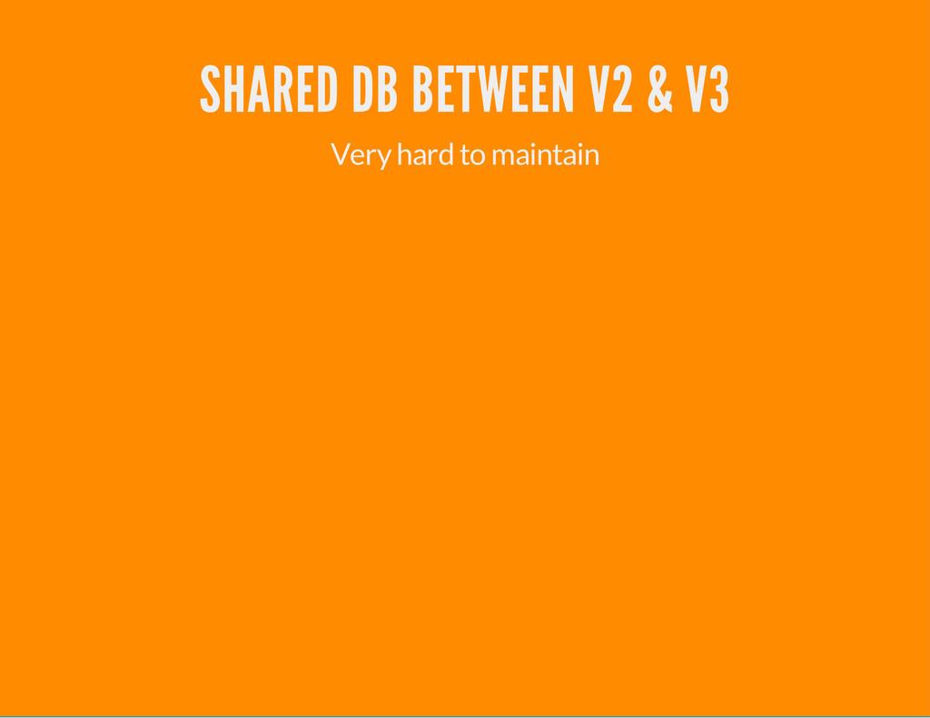 SHARED DB BETWEEN V2 & V3 Very hard to maintain