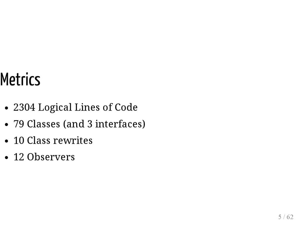 Metrics 2304 Logical Lines of Code 79 Classes (...