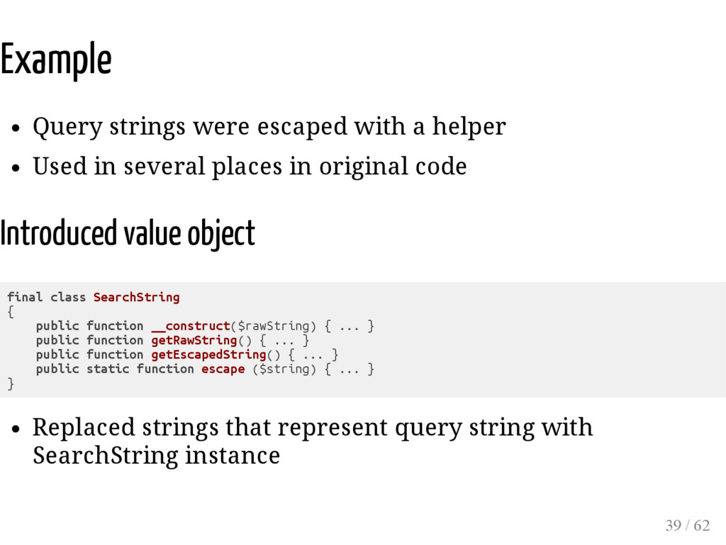 Example Query strings were escaped with a helpe...