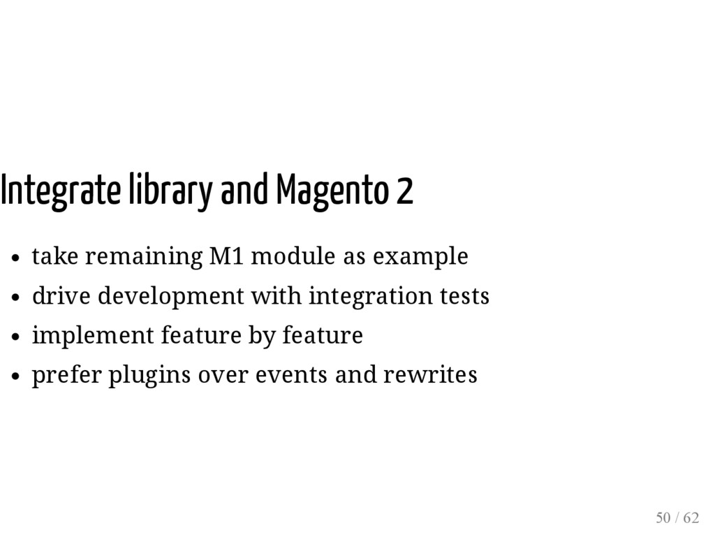 Integrate library and Magento 2 take remaining ...