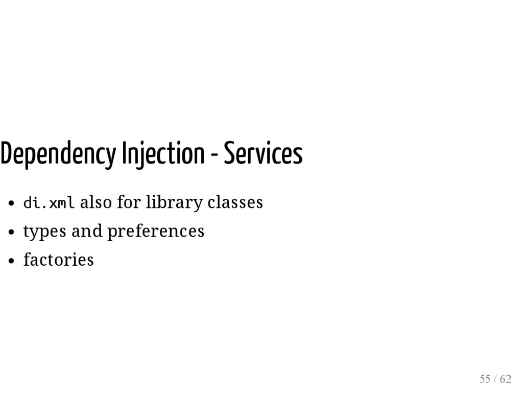 Dependency Injection - Services di.xml also for...