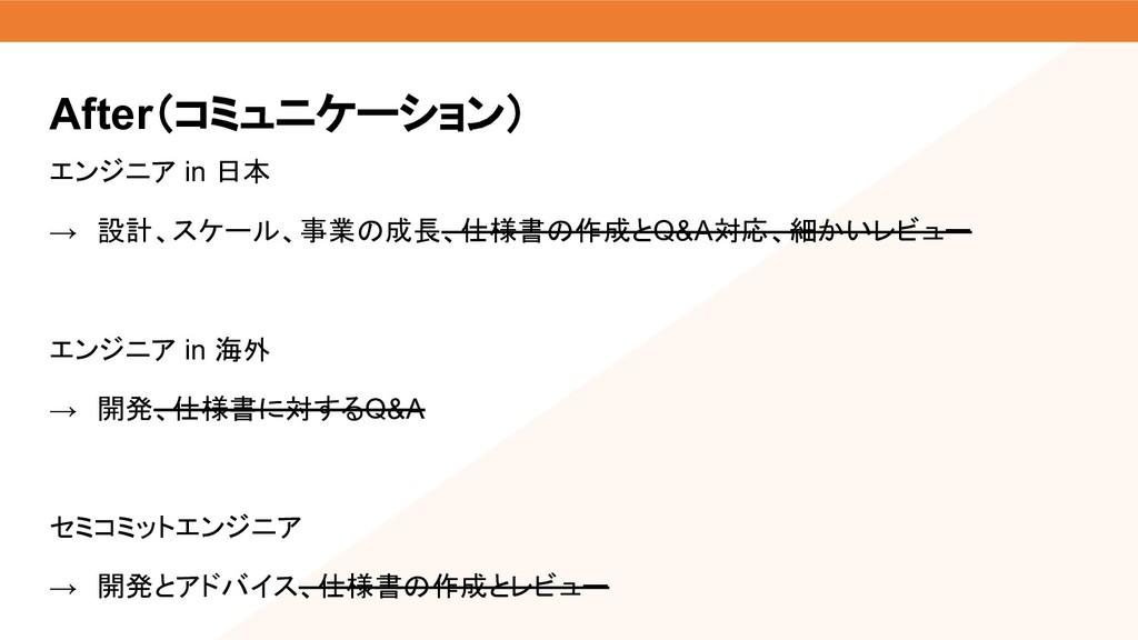 エンジニア in 日本 → 設計、スケール、事業の成長、仕様書の作成とQ&A対応、細かいレビュ...