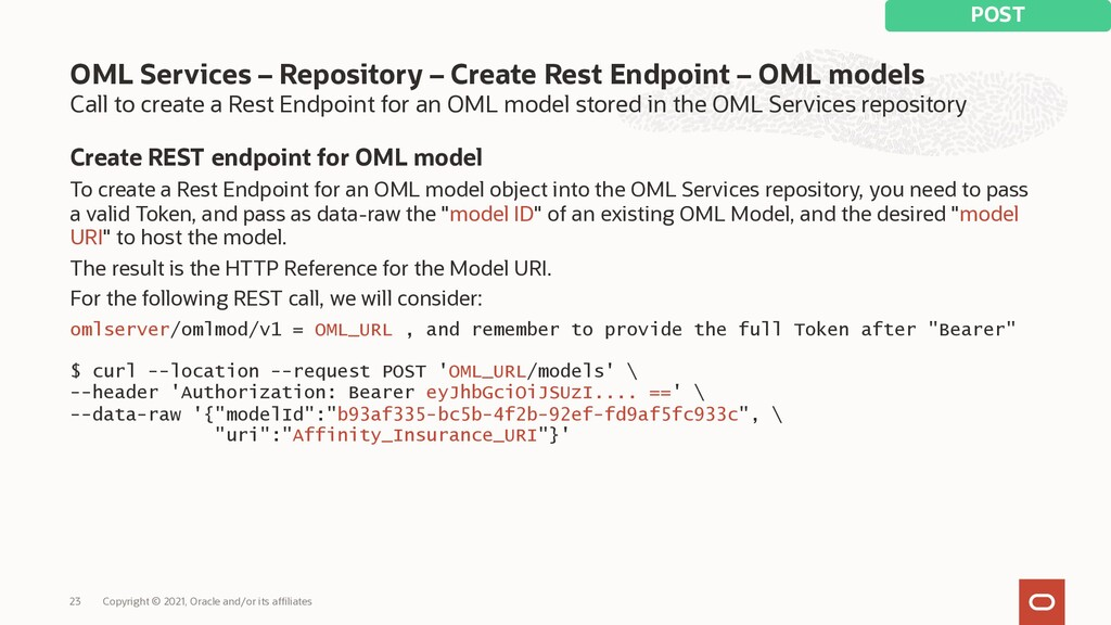 Call to create a Rest Endpoint for an OML model...