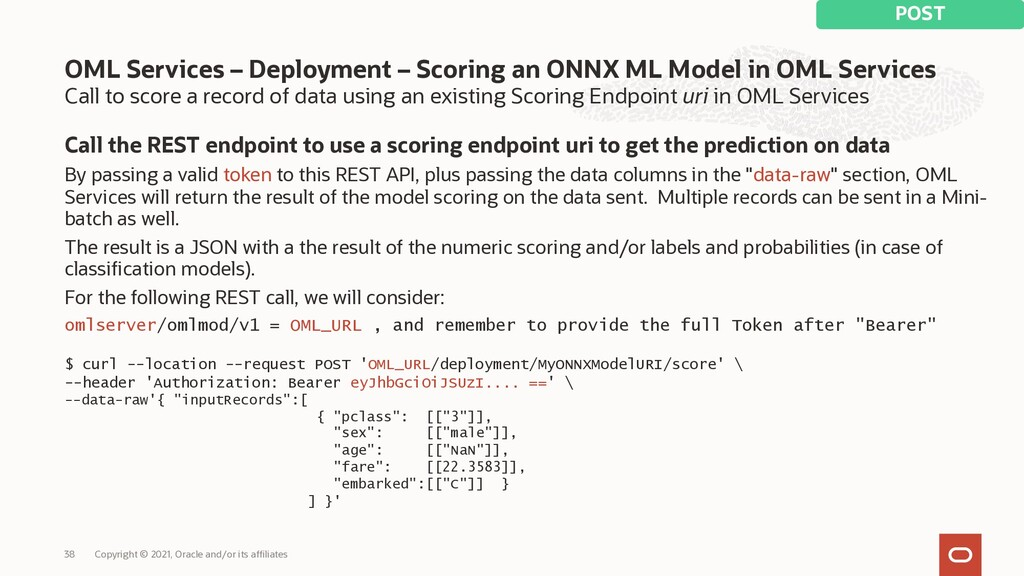 Call to score a record of data using an existin...