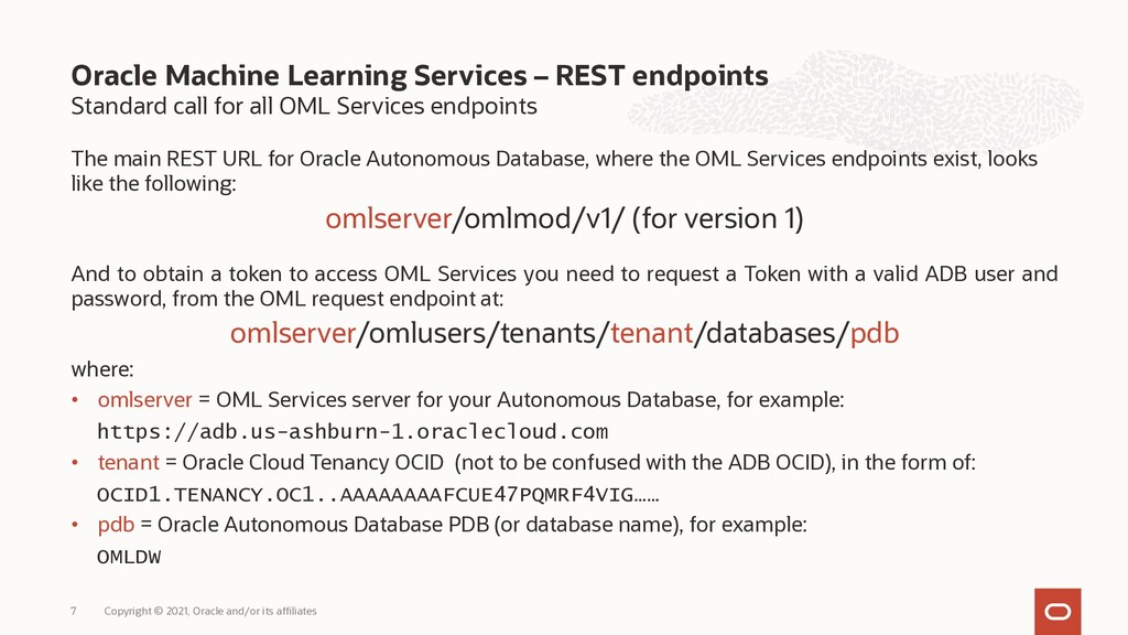 Standard call for all OML Services endpoints Th...