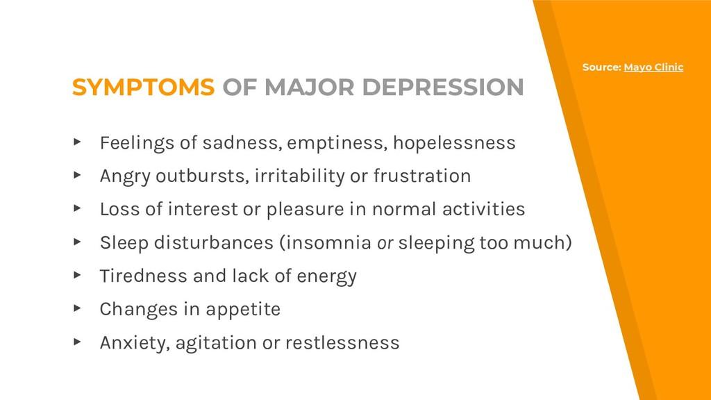SYMPTOMS OF MAJOR DEPRESSION ▸ Feelings of sadn...