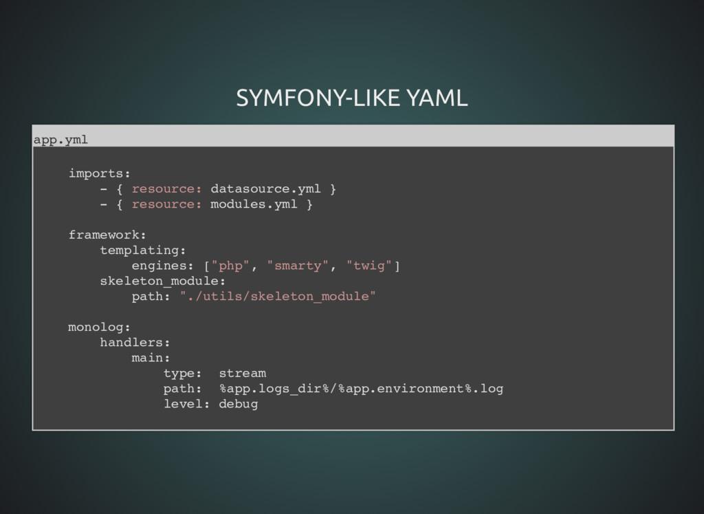 SYMFONY-LIKE YAML SYMFONY-LIKE YAML app.yml imp...
