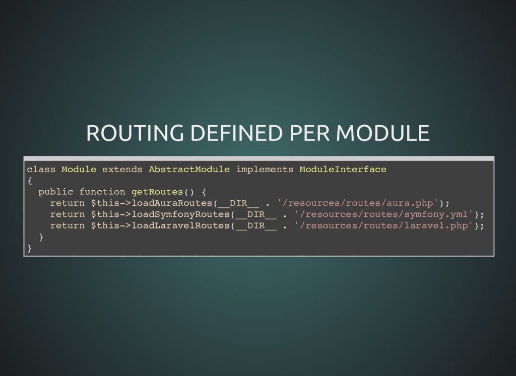 ROUTING DEFINED PER MODULE ROUTING DEFINED PER ...