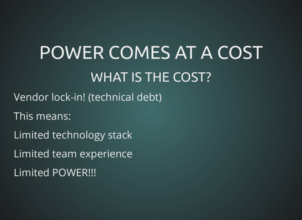 POWER COMES AT A COST POWER COMES AT A COST WHA...