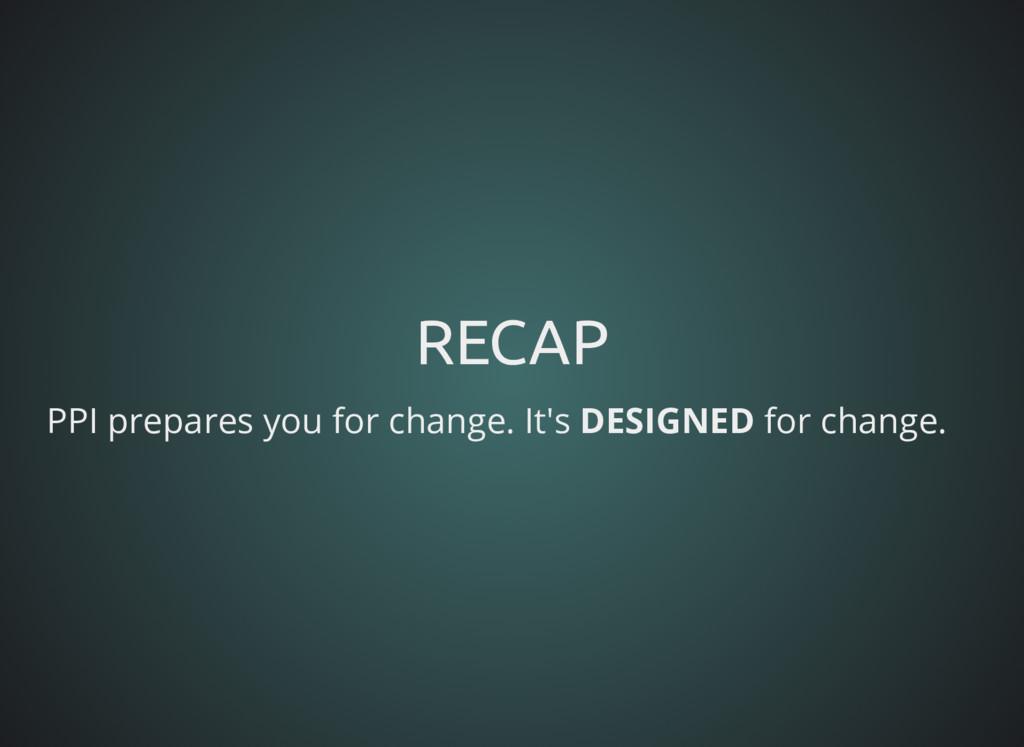 RECAP RECAP PPI prepares you for change. It's D...