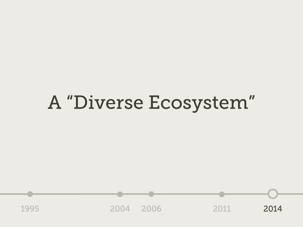 "1995 2004 2006 2011 2014 A ""Diverse Ecosystem"""