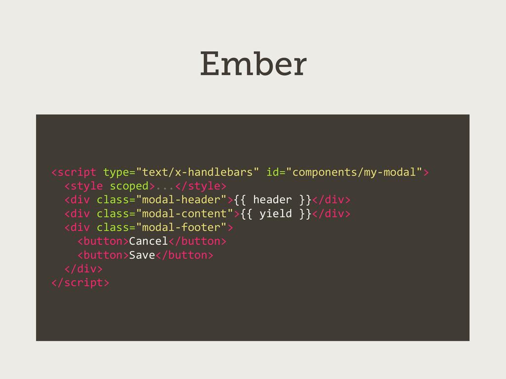 "Ember <script type=""text/x-‐handlebars"" ..."