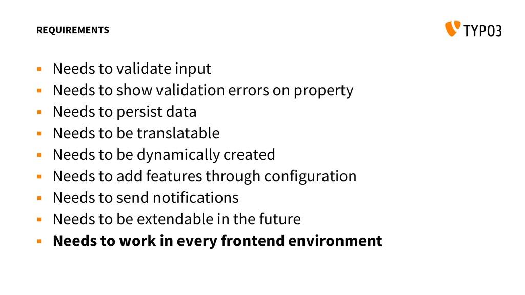 REQUIREMENTS  Needs to validate input  Needs ...