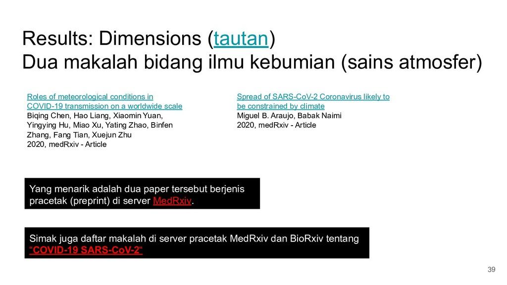Results: Dimensions (tautan) Dua makalah bidang...