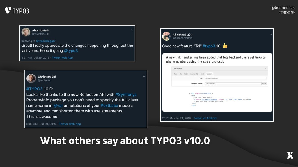 @bennimack #T3DD19 What others say about TYPO3...