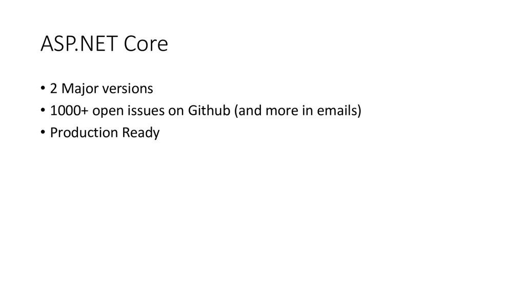ASP.NET Core • 2 Major versions • 1000+ open is...