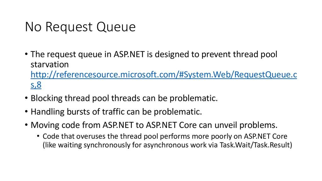 No Request Queue • The request queue in ASP.NET...