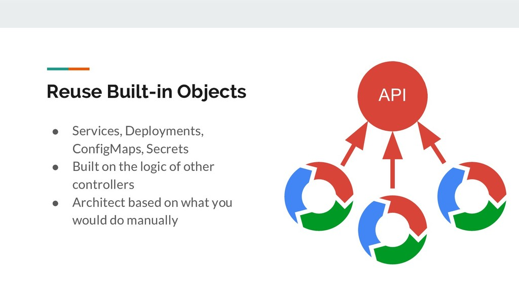 Reuse Built-in Objects ● Services, Deployments,...