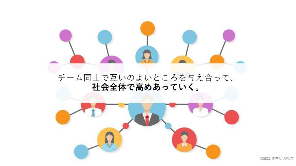 177 チーム同士で互いのよいところを与え合って、 社会全体で高めあっていく。 ©2021 オ...