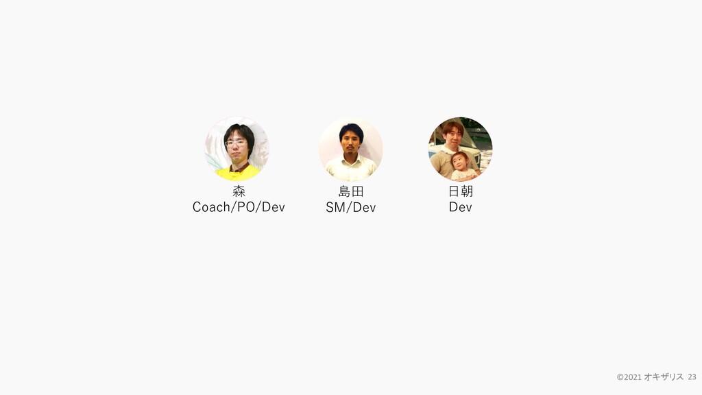 ©2021 オキザリス 23 森 Coach/PO/Dev 日朝 Dev 島田 SM/Dev