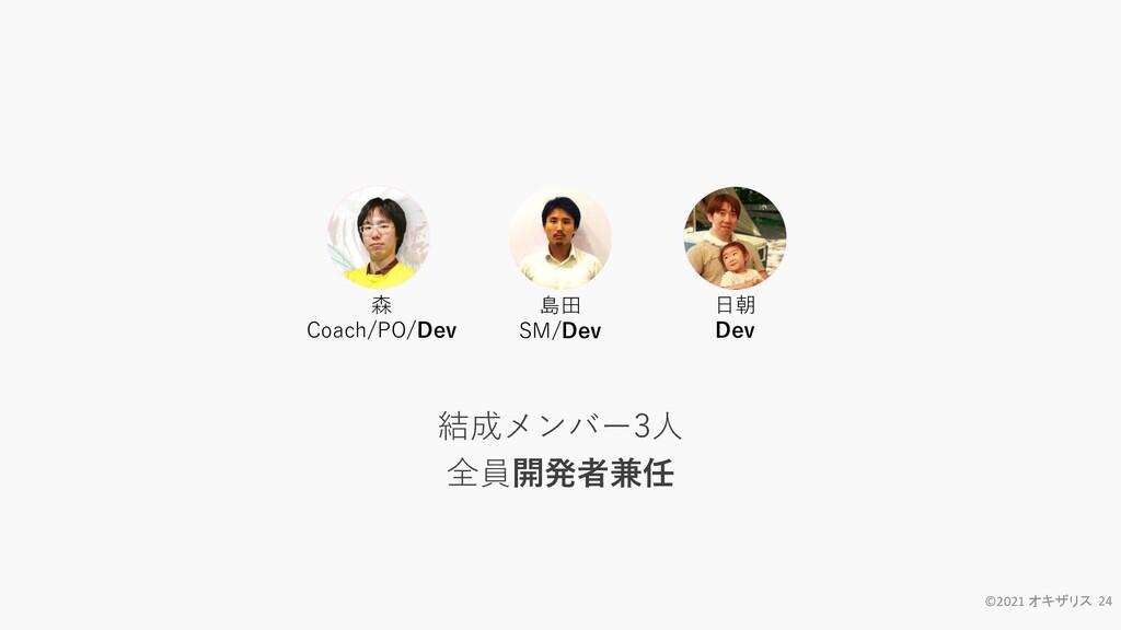 ©2021 オキザリス 24 結成メンバー3人 全員開発者兼任 森 Coach/PO/Dev ...