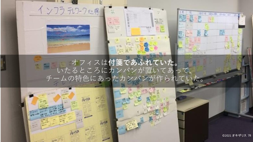 オフィスは付箋であふれていた。 いたるところにカンバンが置いてあって、 チームの特色にあったカ...
