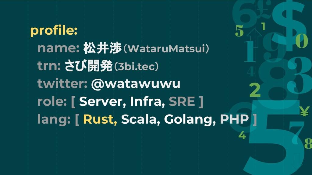 profile: name: 松井渉(WataruMatsui) trn: さび開発(3bi....