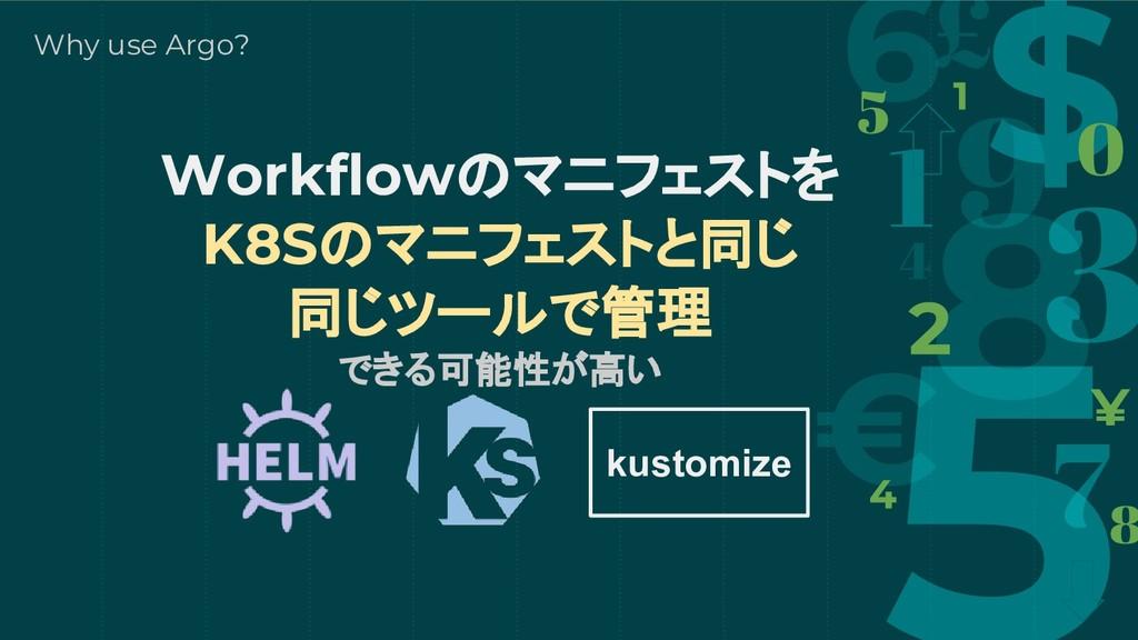 Workflowのマニフェストを K8Sのマニフェストと同じ 同じツールで管理 できる可能性が...