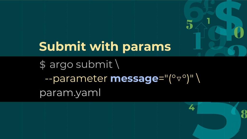 """$ argo submit \ --parameter message=""""(°▽°)"""" \ p..."""