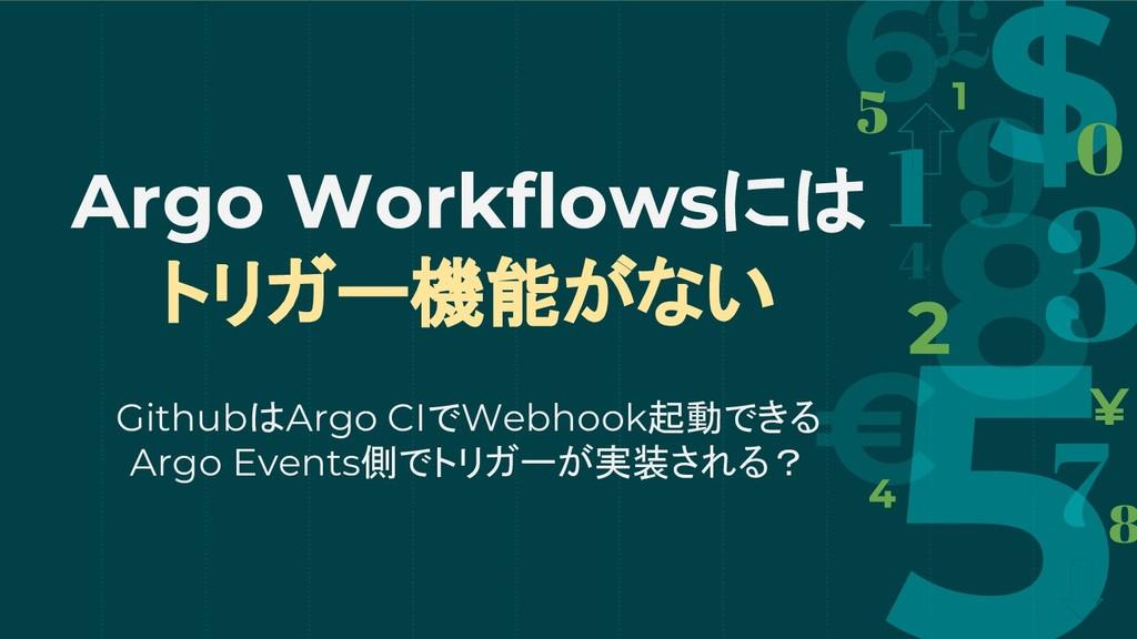 Argo Workflowsには トリガー機能がない GithubはArgo CIでWebho...