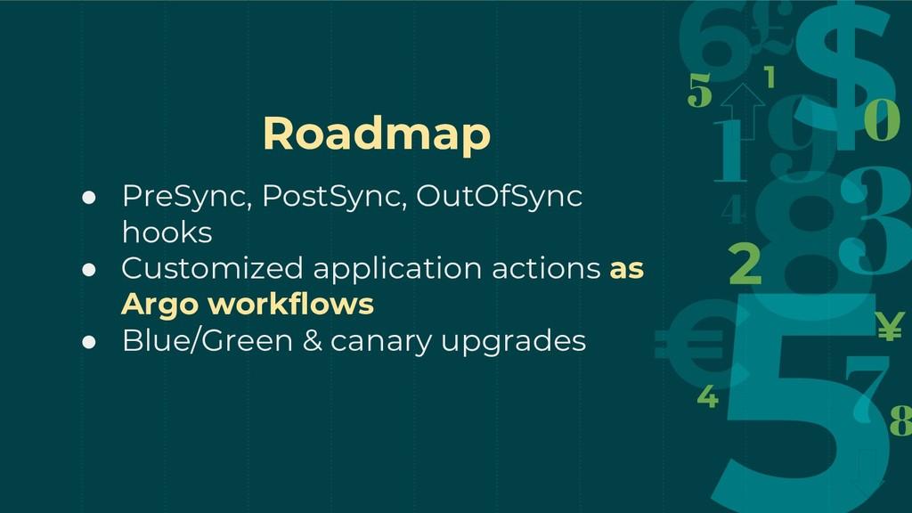 Roadmap ● PreSync, PostSync, OutOfSync hooks ● ...