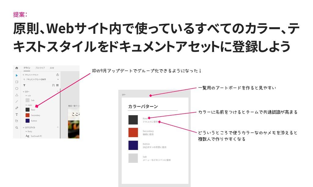 提案: 原則、Webサイト内で使っているすべてのカラー、テ キストスタイルをドキュメントアセッ...