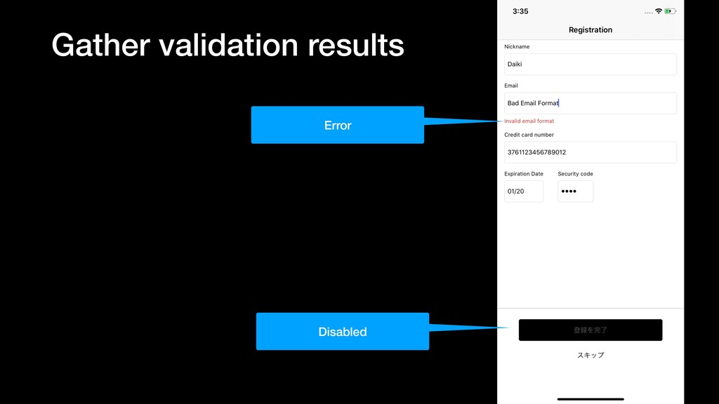 Gather validation results Error Disabled