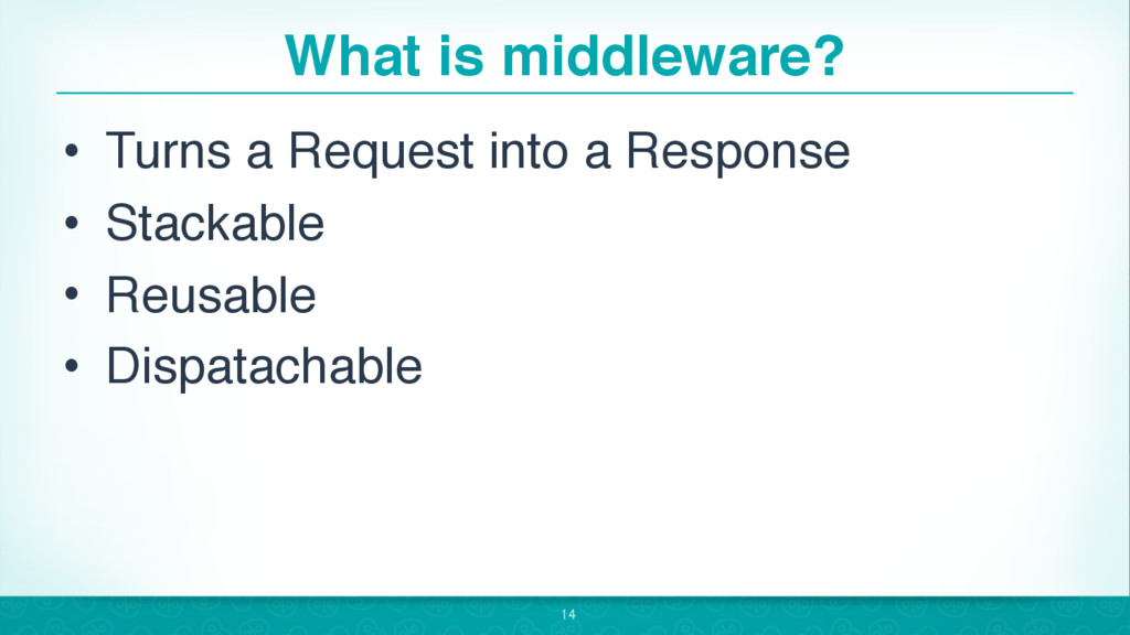 What is middleware? • Turns a Request into a Re...